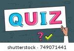 quiz line concept. vector... | Shutterstock .eps vector #749071441