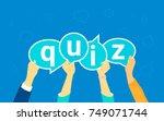 quiz flat concept vector... | Shutterstock .eps vector #749071744