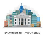 bank building on the city...   Shutterstock .eps vector #749071837