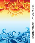 draw shaped like sun and sea...   Shutterstock .eps vector #749075341
