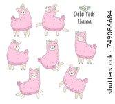 cute pink fluffy llama  alpaca  ... | Shutterstock .eps vector #749086684