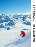 skiing with amazing view of... | Shutterstock . vector #749088235