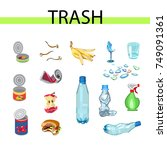collection of garbage and... | Shutterstock .eps vector #749091361