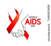 world aids day. holding hands... | Shutterstock .eps vector #749092909