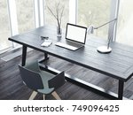 comfortable working place with... | Shutterstock . vector #749096425