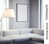 living room with sofa and blank ... | Shutterstock . vector #749096659