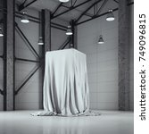 modern factory loft hangar with ... | Shutterstock . vector #749096815