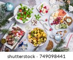 flat lay of delicious christmas ... | Shutterstock . vector #749098441