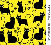 Stock vector cute black cat seamless pattern and vector 749102161