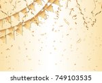 gold confetti  streamers and... | Shutterstock .eps vector #749103535