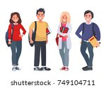 happy students with books on an ... | Shutterstock .eps vector #749104711