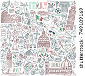 italy doodle set. famous... | Shutterstock .eps vector #749109169