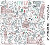 Italy Doodle Set. Famous...