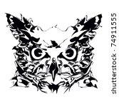 crazy  owl    Shutterstock .eps vector #74911555