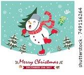 vintage christmas poster design ... | Shutterstock .eps vector #749116264