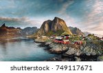norwegian fishing village at... | Shutterstock . vector #749117671