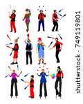 clown on stilts with balloons... | Shutterstock .eps vector #749119801
