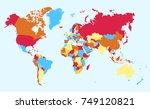color world map vector. | Shutterstock .eps vector #749120821