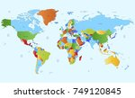 color world map vector. | Shutterstock .eps vector #749120845