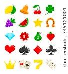 bright casino flat icons set.... | Shutterstock .eps vector #749121001