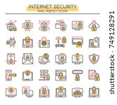 internet security   thin line... | Shutterstock .eps vector #749128291