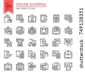 online shopping   thin line and ... | Shutterstock .eps vector #749128351