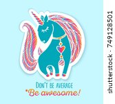 unicorn drawing sticker.... | Shutterstock .eps vector #749128501
