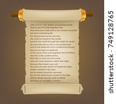 old scroll with bible text.... | Shutterstock .eps vector #749128765