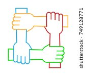 four hands hold together for... | Shutterstock .eps vector #749128771