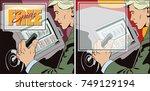 slot machine. free spins.... | Shutterstock .eps vector #749129194