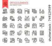 office elements   thin line and ... | Shutterstock .eps vector #749129599
