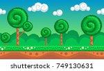 pixel art seamless background.... | Shutterstock .eps vector #749130631