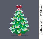 pixel art decorated christmas... | Shutterstock .eps vector #749130667
