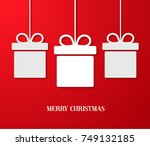 christmas paper card with...   Shutterstock .eps vector #749132185