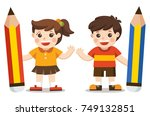 little boy and girl holding big ... | Shutterstock .eps vector #749132851