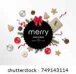 christmas greeting design with... | Shutterstock .eps vector #749143114