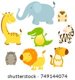 Stock vector set of cute cartoon african animals giraffe crocodile zebra monkey hamadryle elephant 749144074