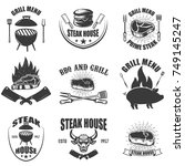 set of steak house emblems. bbq ... | Shutterstock .eps vector #749145247