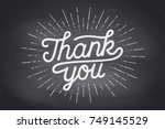 hand lettering thank you with... | Shutterstock .eps vector #749145529
