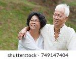 beautiful happy asian old... | Shutterstock . vector #749147404
