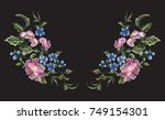 embroidery floral neckline... | Shutterstock .eps vector #749154301