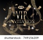 vip invitation card with... | Shutterstock .eps vector #749156209