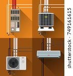 air condition system with tubes ... | Shutterstock .eps vector #749161615