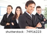manager and his team smiling in ... | Shutterstock . vector #74916223
