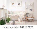 baby bedroom decorated with... | Shutterstock . vector #749162995