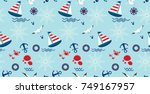 Stock vector seamless pattern with sailboat anchor steering wheel and lifebuoy cute marine pattern for fabric 749167957