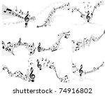 musical note staff background... | Shutterstock . vector #74916802