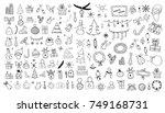 set of christmas doodles   Shutterstock .eps vector #749168731