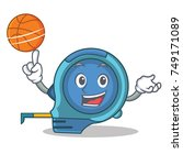 with basketball tape measure... | Shutterstock .eps vector #749171089