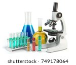 microscope with flasks and... | Shutterstock . vector #749178064